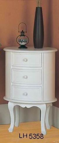 Fully white finish covered Ellipse cabinet with 3 drawers