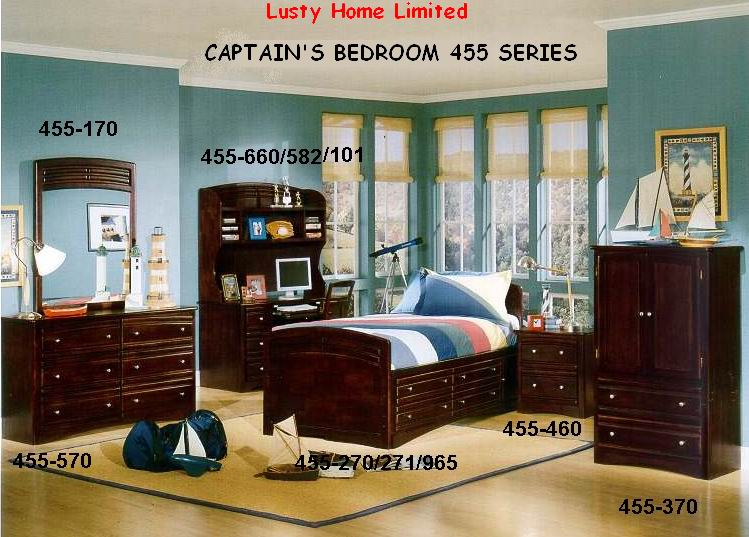 Village style Antique darker cherry finish Captain's bed bedroom 455 Series