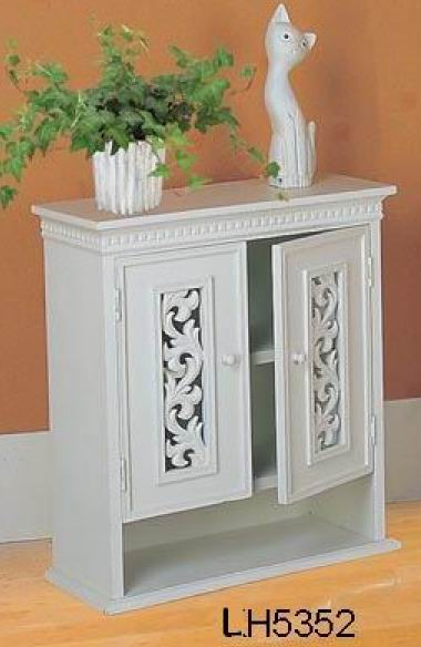 Wall cabinet with 2 carved doors in antique white finish