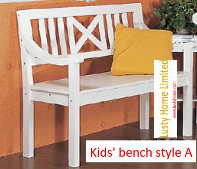 Kids wood benchs carved in antique white finish