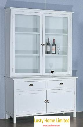 Antique white finish cupboard:Hutch and buffet