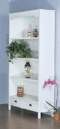 Simple and modern 4 layers bookshelf with 2 drawers in antique white finish