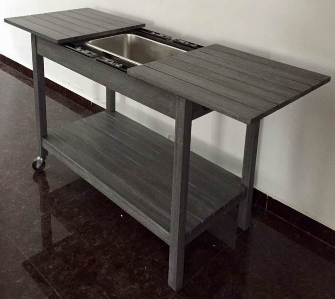 Acacia Wood Kitchen Cart with stainless steel bowl