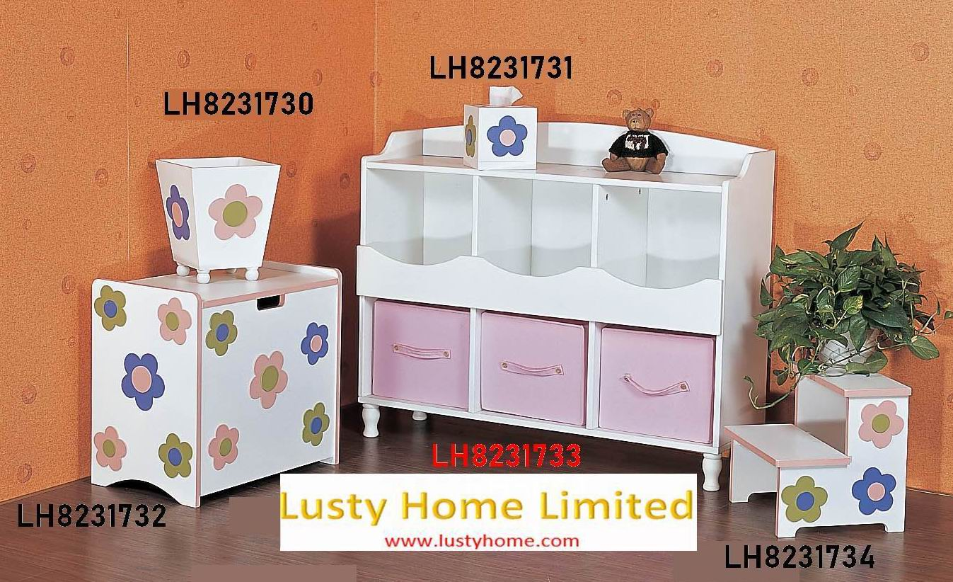 Hand-painting kids Storages with kids bench combination