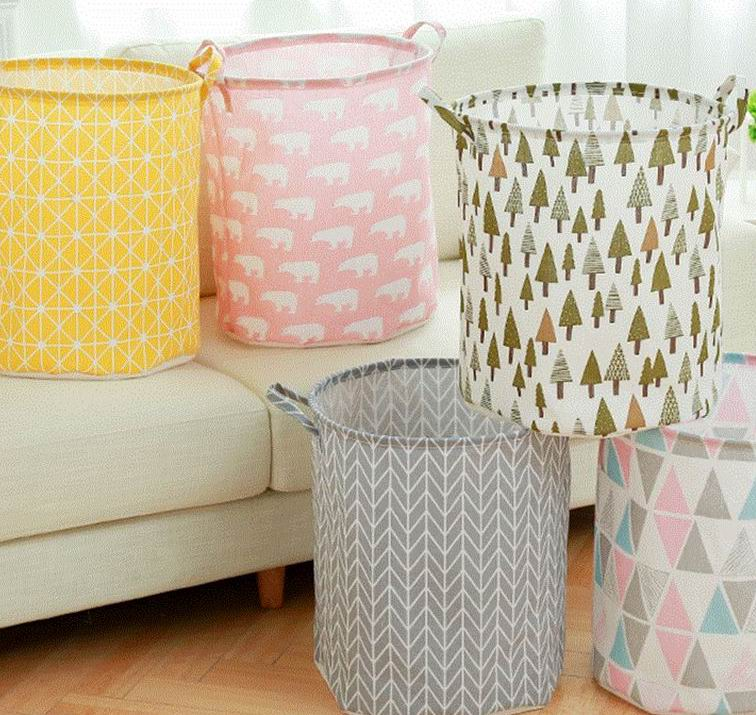Colorful Cotton and hemp dirty clothes bucket,aundry basket