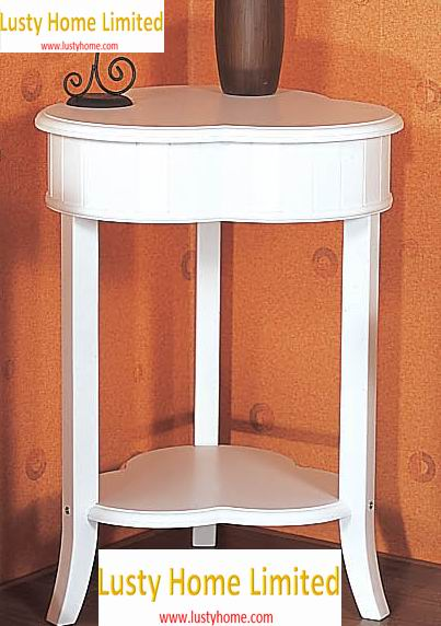 Corner Telephone Table heart shaped with one bottom shelf full covering in white paint finish