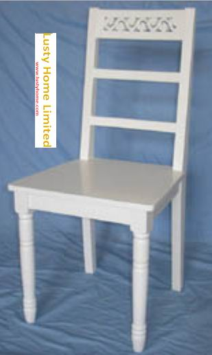 Simple carved dining side chair fully covering with white paint