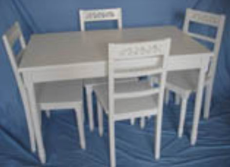 Simple carved dining room 5 pieces(one table+4 pcs side dining chairs)