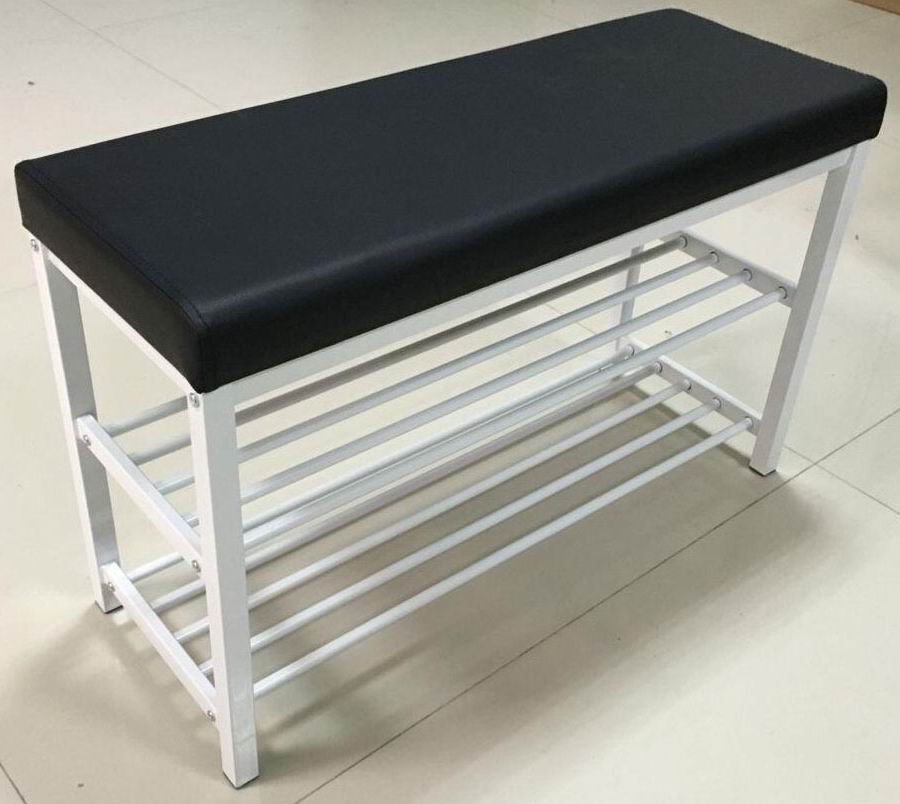 Metal Shoe Rack Bench with Seat Cushion in powder coating
