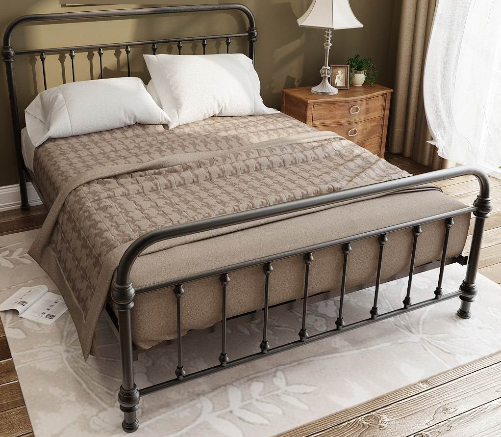 American Village and vintage style Princess iron bed in black powder coating