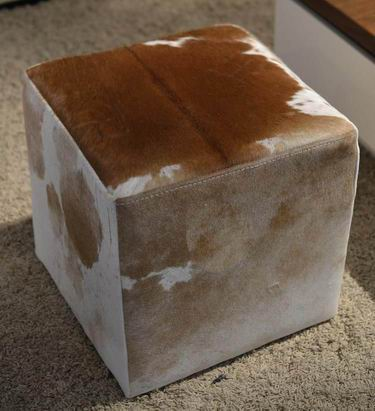 Cubic leather footstool to be removable and  washable