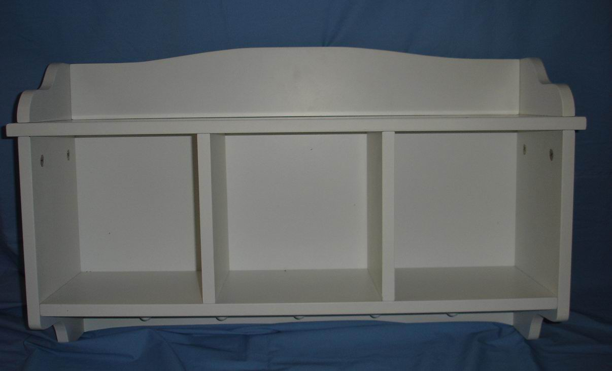 Wall Kids Toy shelf with 5 hooks in fully covering with white paint