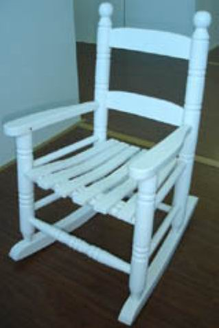 Kids Rocking Chair fully covering in white paint finish