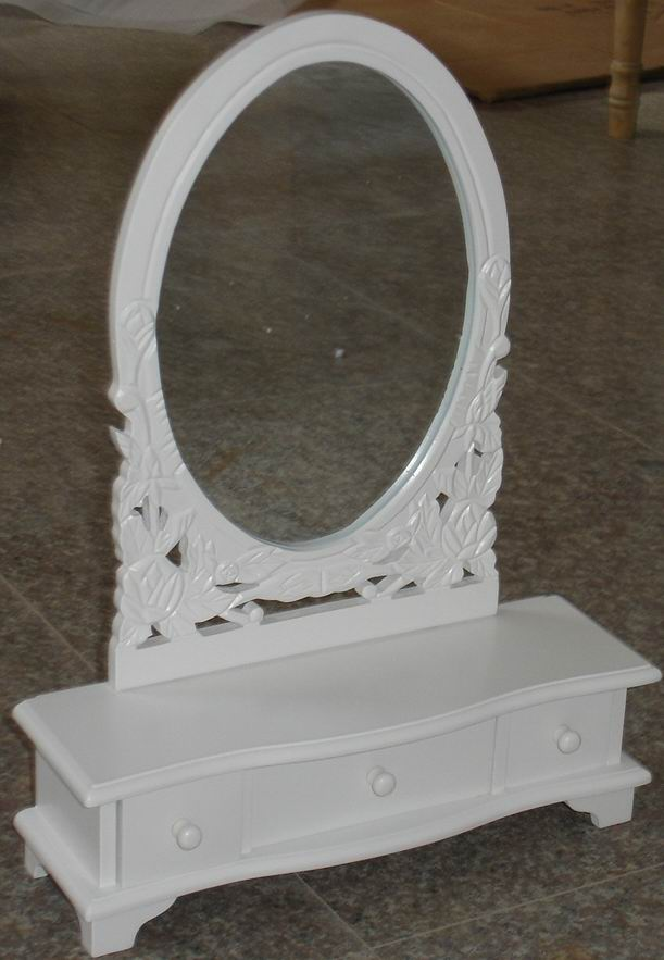 Carved Dressing Mirror with 3 Makeup Boxes