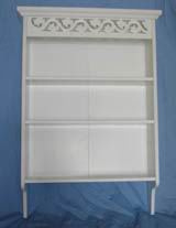 Carved 3 layers bookshelf fully covering in white paint finish