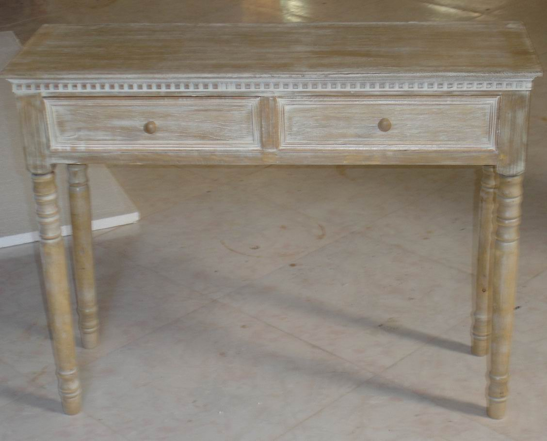 Solid Birch Carved Hall Table in Antique dust paint effect