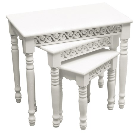 Antique white finishing  table 3/S with carved  Aprons