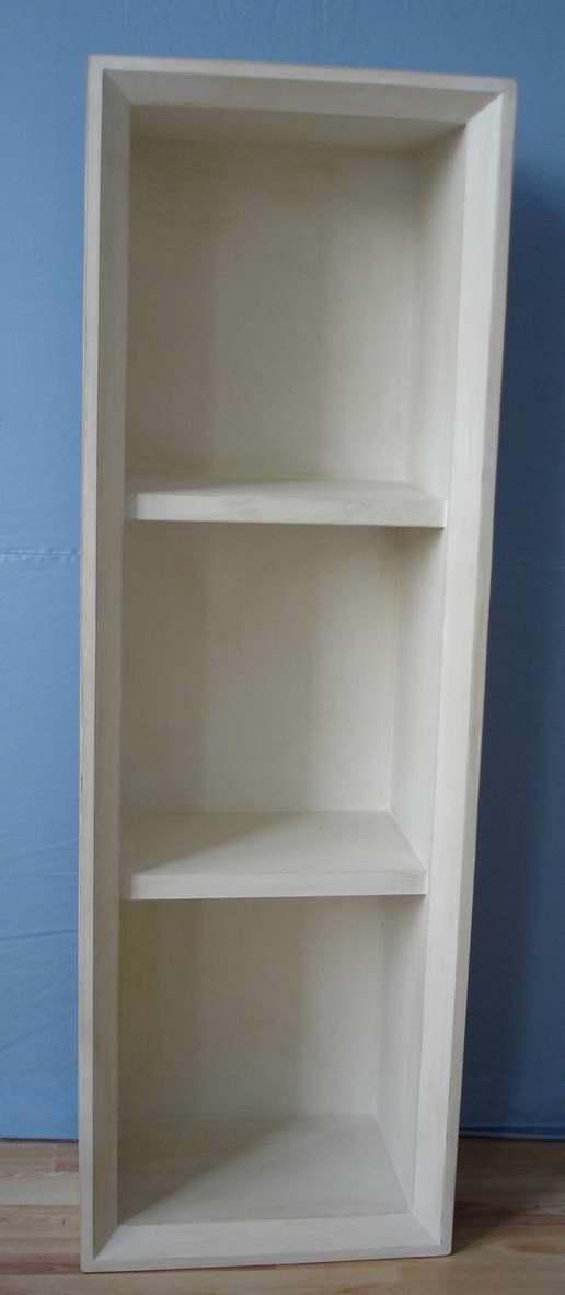 2 layers wall shelves in natural finish
