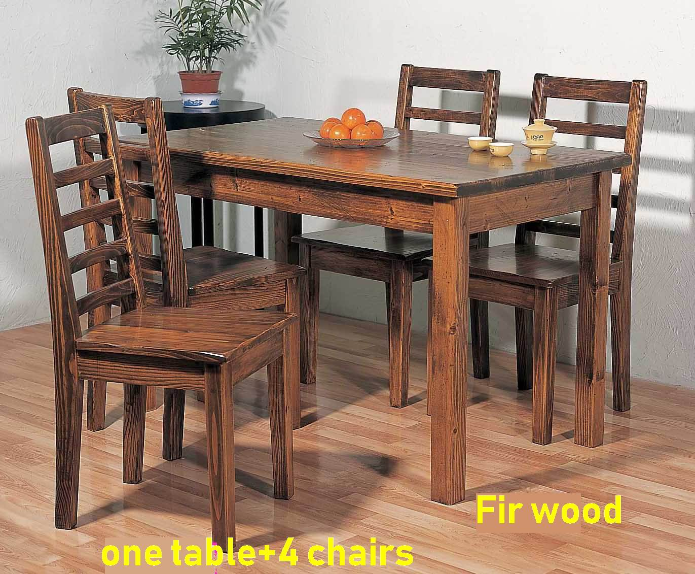 Solid Fir Wood Dining Room one Table with 4 Side Chairs simple combination