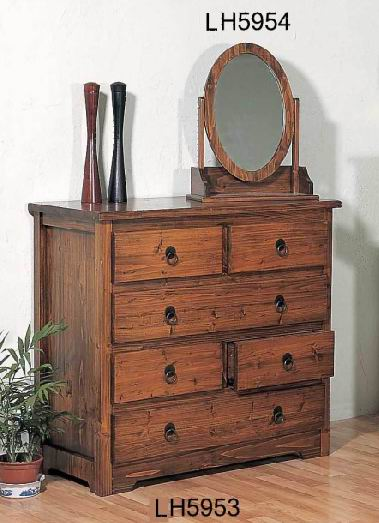 Solid Fir wood Antique Dressing Table Cabinet with Oval cosmetic mirror