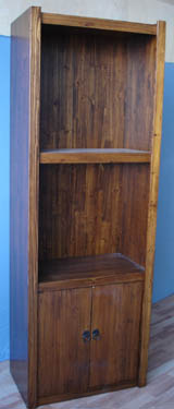 Solid Fir wood Bookcase with 2 layers shelf and 2 bottom doors