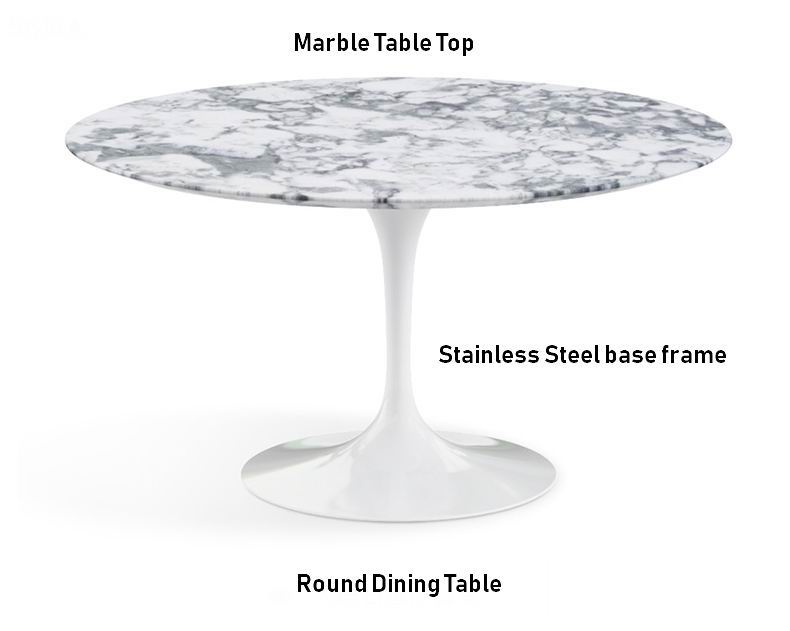 Nordic Round Dining Table with Marble top and Stainless Steel Metal Base Frame