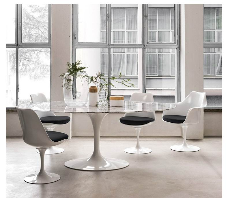 Nordic Oval Dining Table With Marble Top And Stainless Steel Metal Base Frame Lusty Home Limited