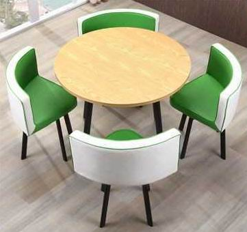 Four-person simple Nordic style round table and chairs combination