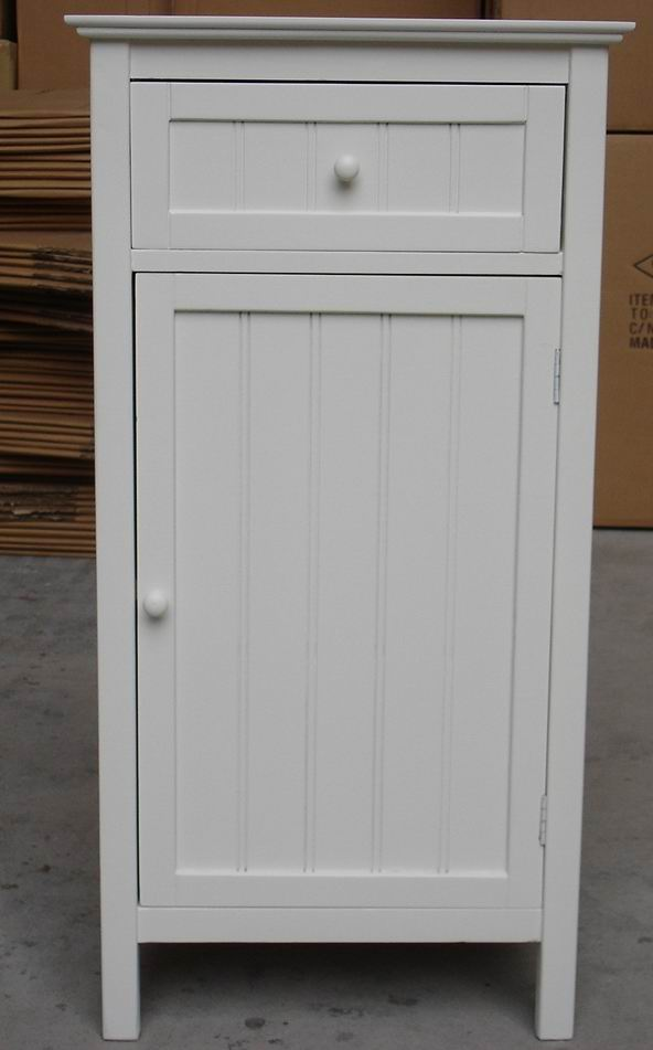 Lower cabinet with one grooved doors and one drawer  with fully covering in white paint