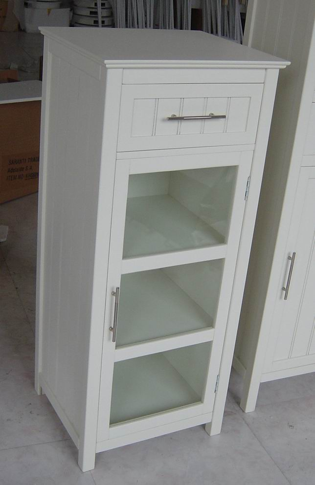 Medium cabinet with one tempered glass door and one drawer  with fully covering in white paint