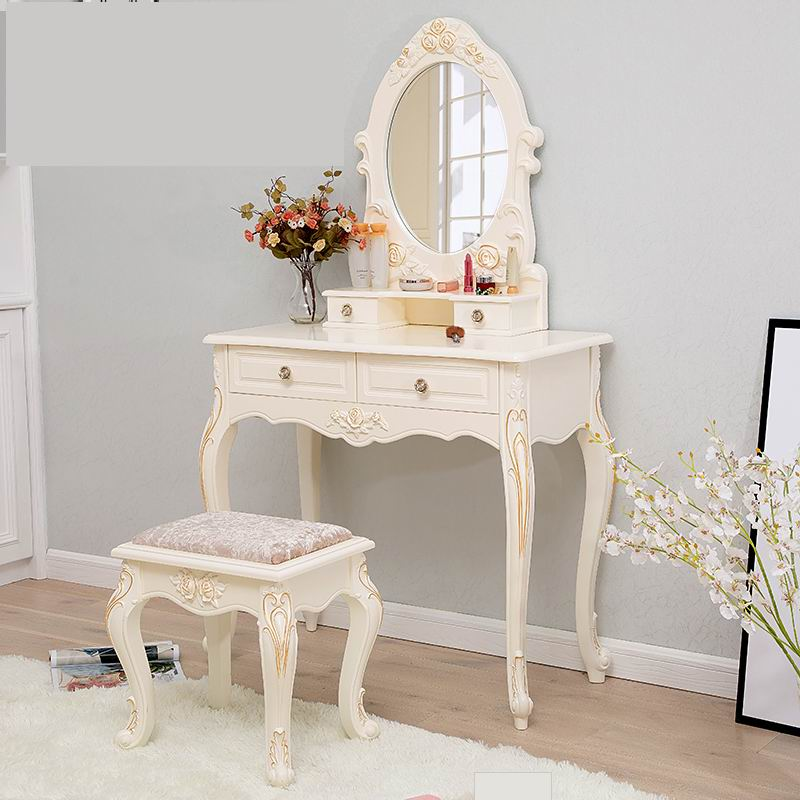 High-end European style carved Princess Dressing table with golden powder brushing finish