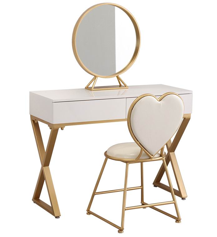 Nordic Modern style princess dressing table with round mirror and heart shaped Chair