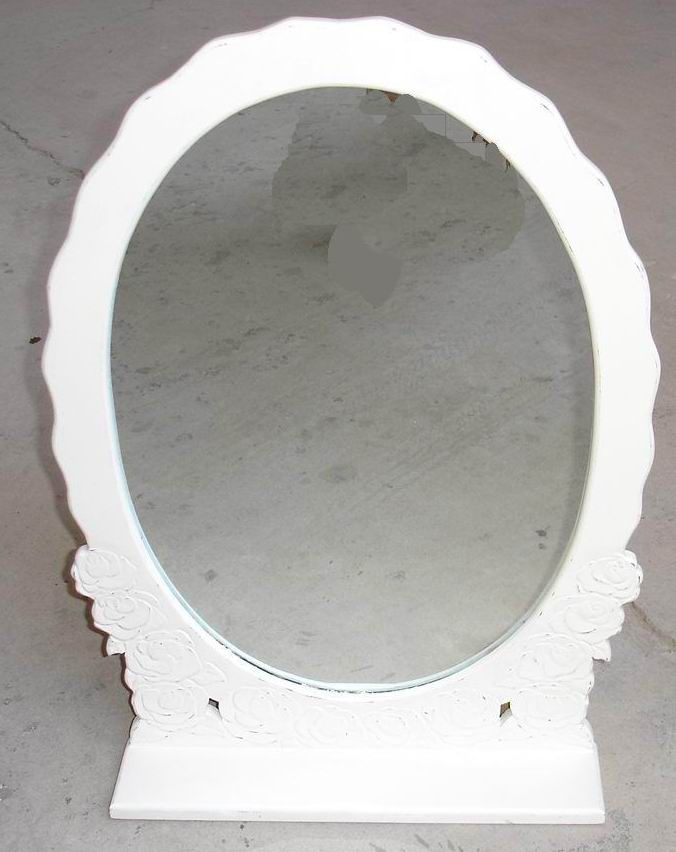 Oval Dressing Mirror carved and in Antique white finished