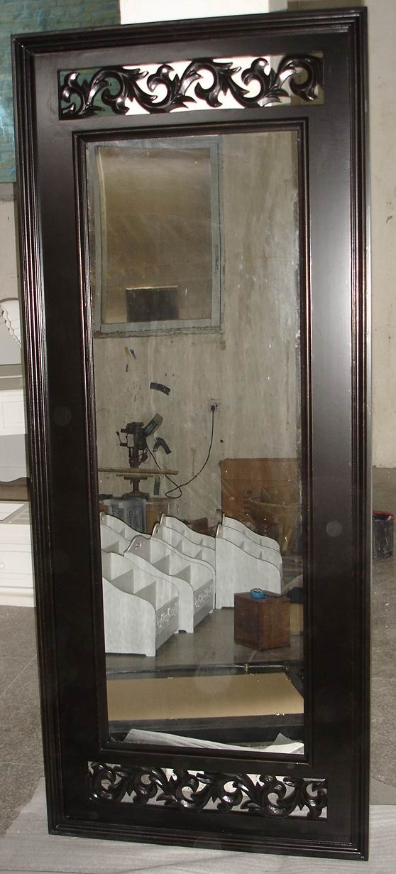 Solid wood Dressing Mirror carved with Dark Walnut finish