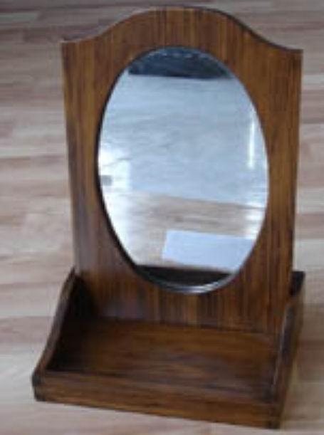 oval dressing mirror inserted makeup box in antique finish