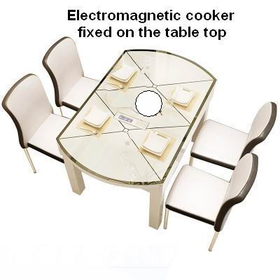 Modern Nordic popular, retractable, multifunctional dining table with eletromagnetic cooker