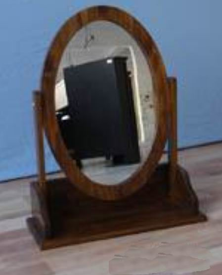 Antique Solid wood dressing oval mirror can turn 270 degrees