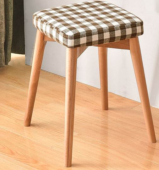 Solid wood simple creative dressing bench with cloth art/clothe fabric  seat cushion