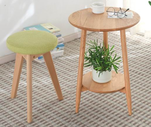 Nordic Solid wood simple creative round dressing bench with clothe fabric  seat cushion