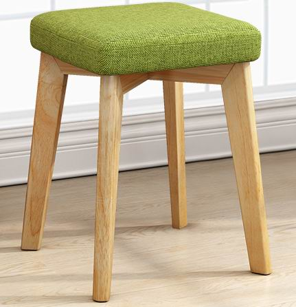 Solid Rubber Wood small square stool,dressing bench with soft seat cushion