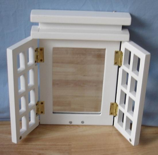 Solid wood photo frames with dressing mirror in fully white covering finished