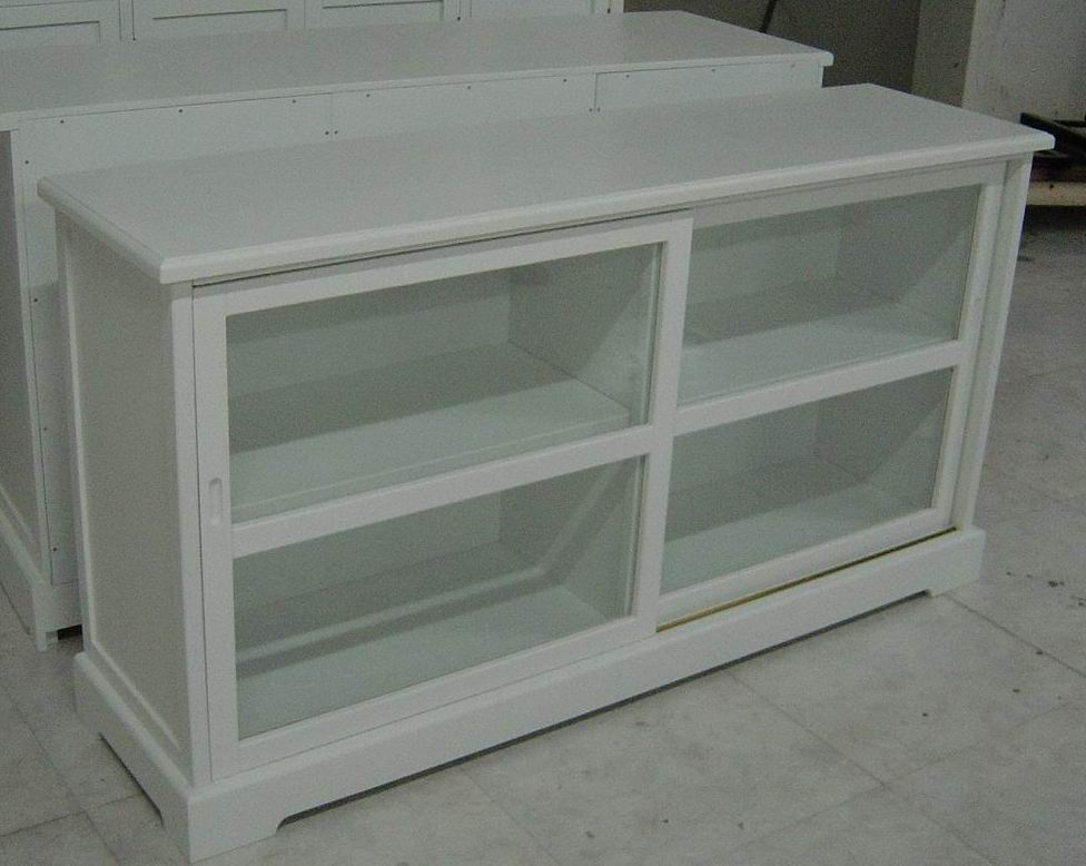 Antique white double moving glass door cupboard