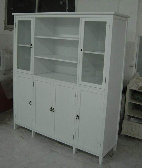 Antique white Cupboard(Hutch and Buffet jointed) with 4 wood doors and 2 glass doors