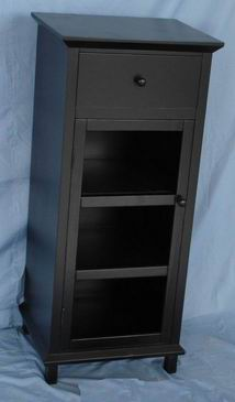 Antique Matt Black Filer Cabinet with one drawer and one door