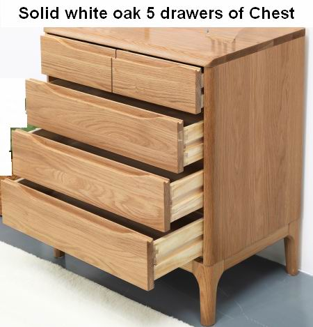 Solid white oak 5 drawers of Chest