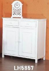 Simple & modern kitchen storage cabinet with 2 drawers and 2 doors fully covering in white paint finish