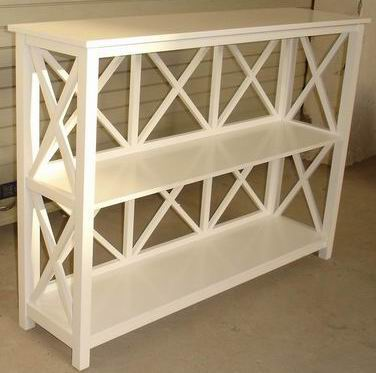Antique Furniture 3 Tiers Bookshelf in Antique White Finish