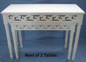 Antique Furniture Nest of 2 Tables with Carved Aprons in Antique white finish
