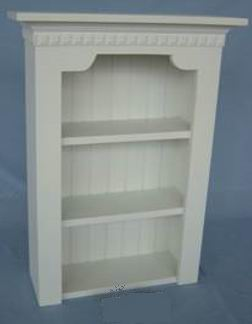 Antique white wall shelf with grooved back panel & carved aprons