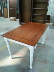 Nordic Style Dining Table with Walnut Top and Antique white Legs & Aprons & 2 drawers